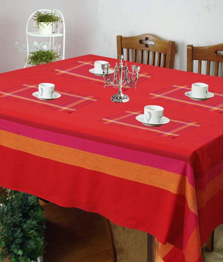 Kitchen Linen Set: Dhrohar Red Stripes Kitchen Linen Set
