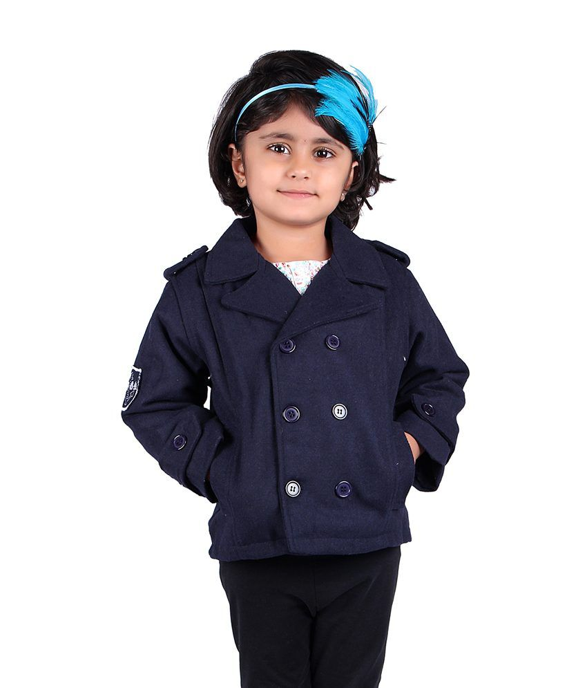 Stylemykidz Navy Full Sleeve Short Style Fleece Laced Trench Coat