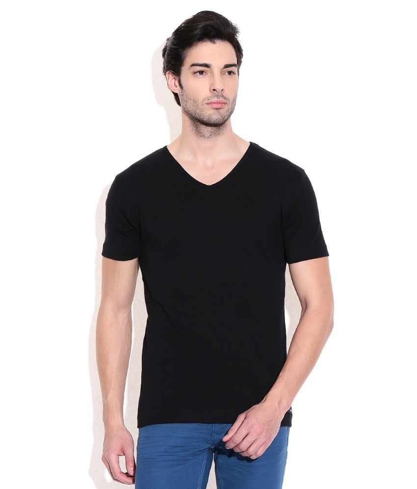 Bossini Black Cotton V-neck T-shirt