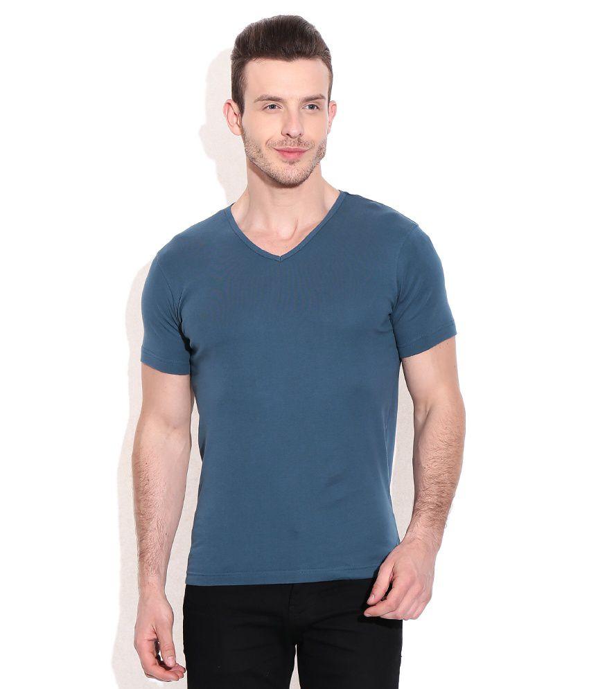 Bossini Blue Cotton V-neck T-shirt