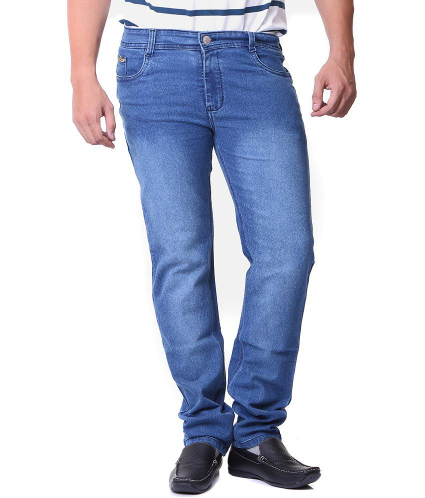 Don Viesel Blue Cotton Blend Regular Fit Jeans