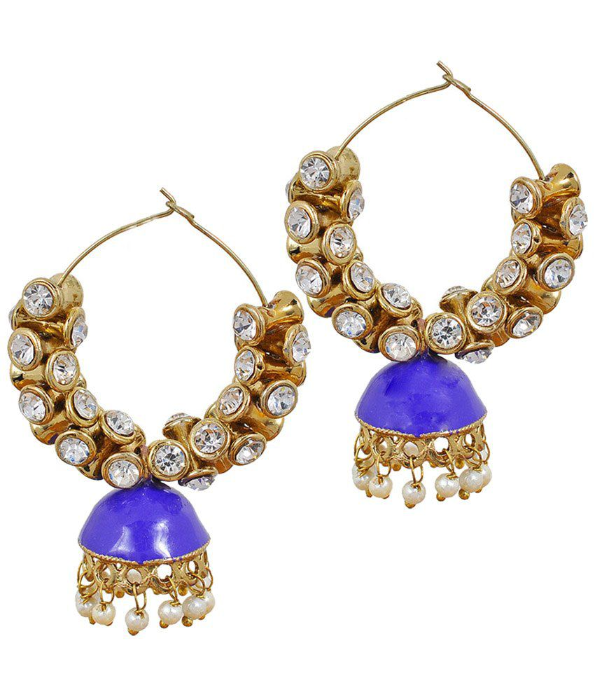 Maayra Awesome Blue Meenakari Jhumkis