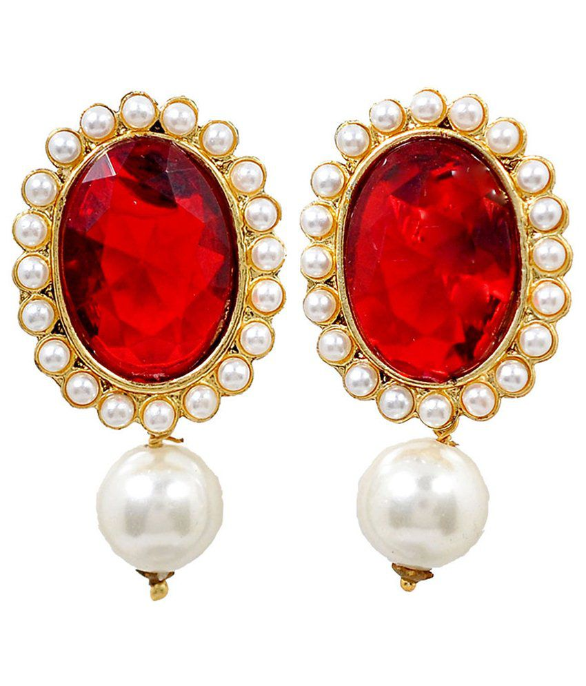 Maayra Fantastic Red White Pearl Drop Earrings
