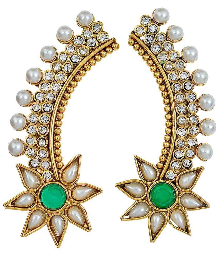 Maayra Sparkling Green Designer Ear Cuffs