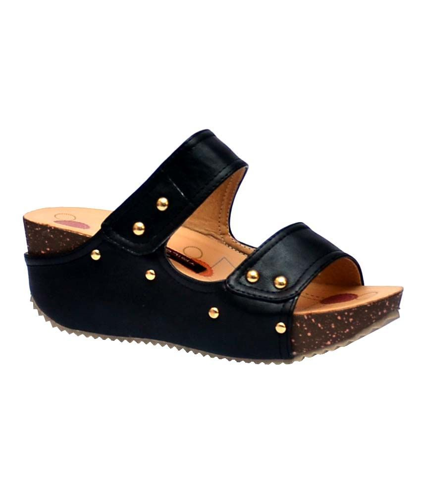 Trilokani Black Wedges Heels