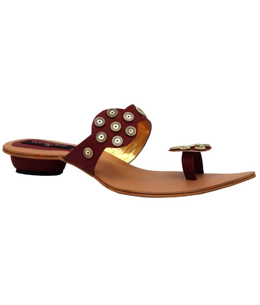 Trilokani Maroon Synthetic Fancy Women's Slipper