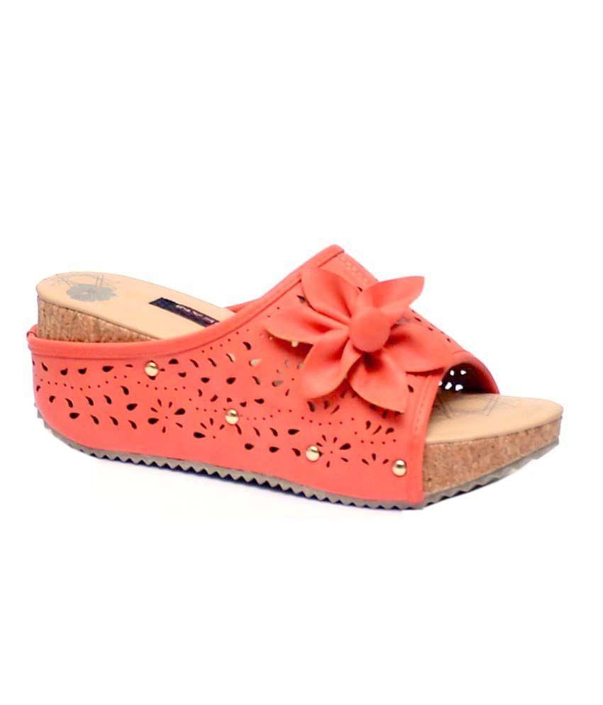 Trilokani Orange Low Heel Flip Flops