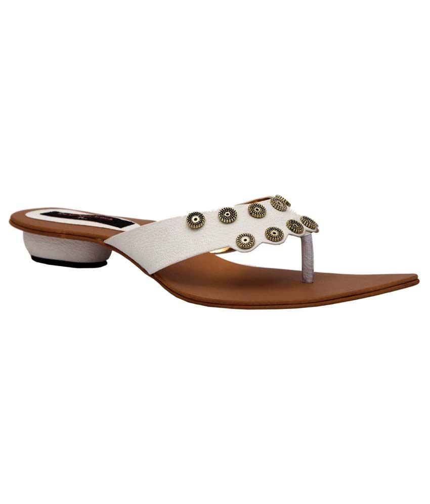 Trilokani White Fancy Slipper For Women