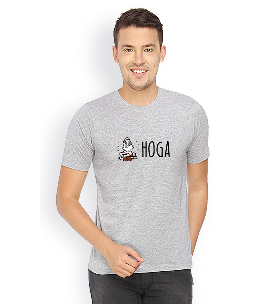 Campus Sutra Gray Cotton Round Neck T Shirt