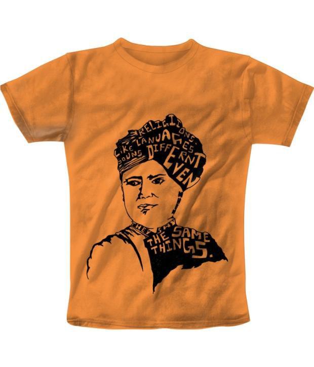 Freecultur Express Orange Cotton Blend T-shirt