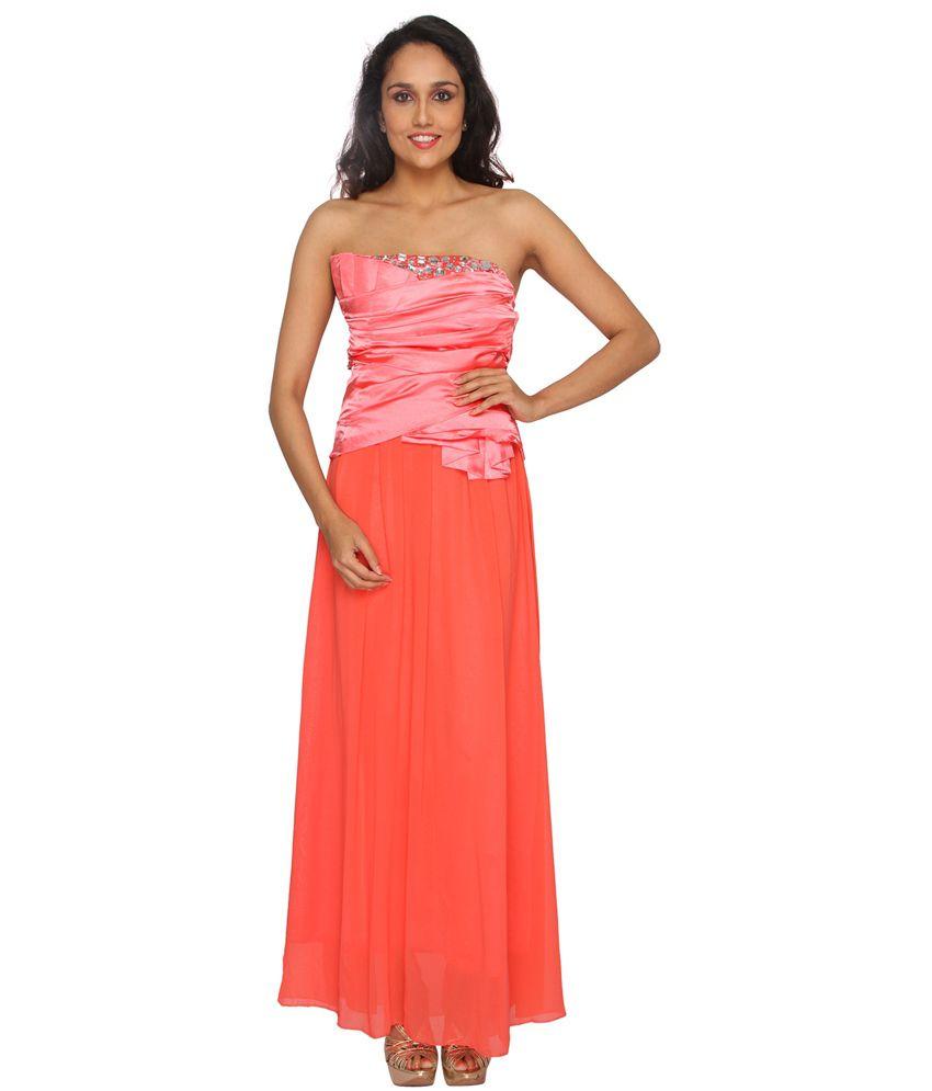 Red Paparazzi Closet Red Cotton Lbd Partywear Long Women Maxi Dress (Multicolor)