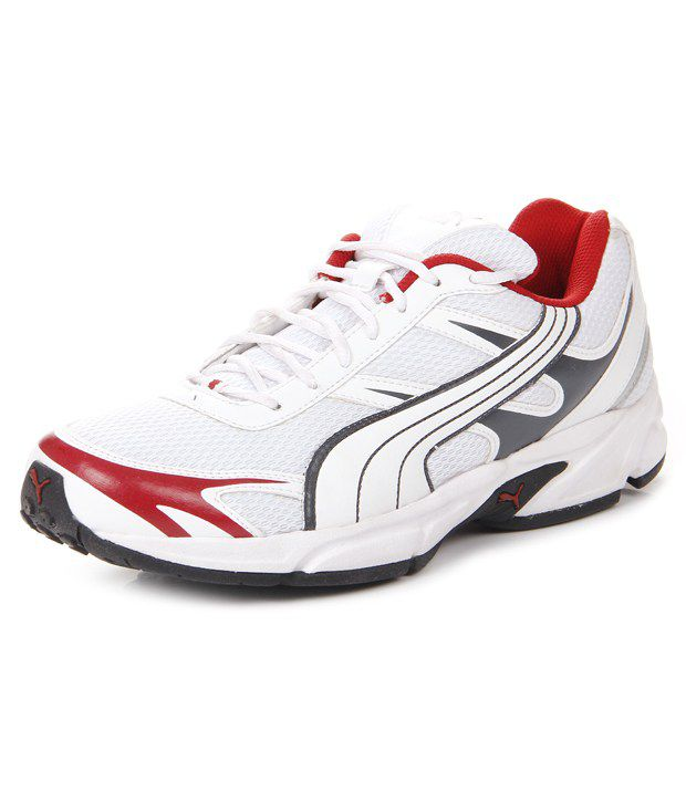 Puma White Synthetic Leather Running Sport Shoes