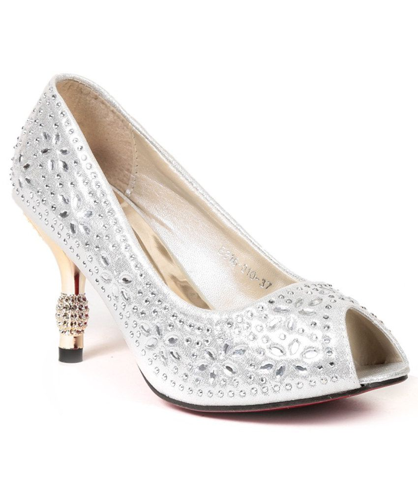 Lovely Chick Silver Slip-on Heels