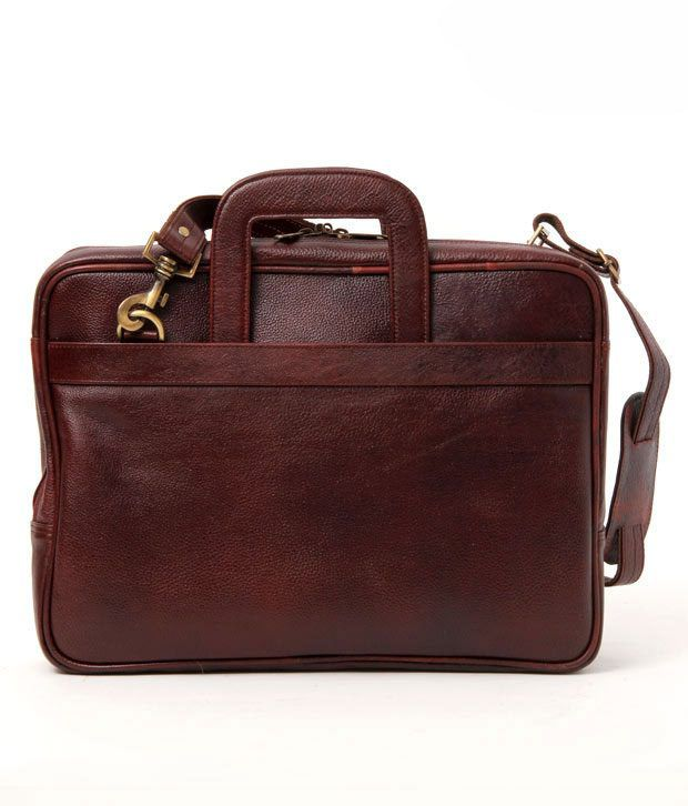 WalletsnBags Brown textured Finish Portfolio Bag