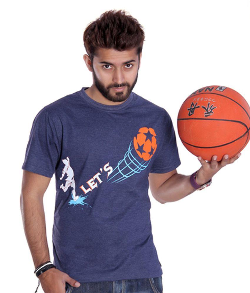 Ektarfaa Lets Football Navy Mill Cotton Printed T Shirt