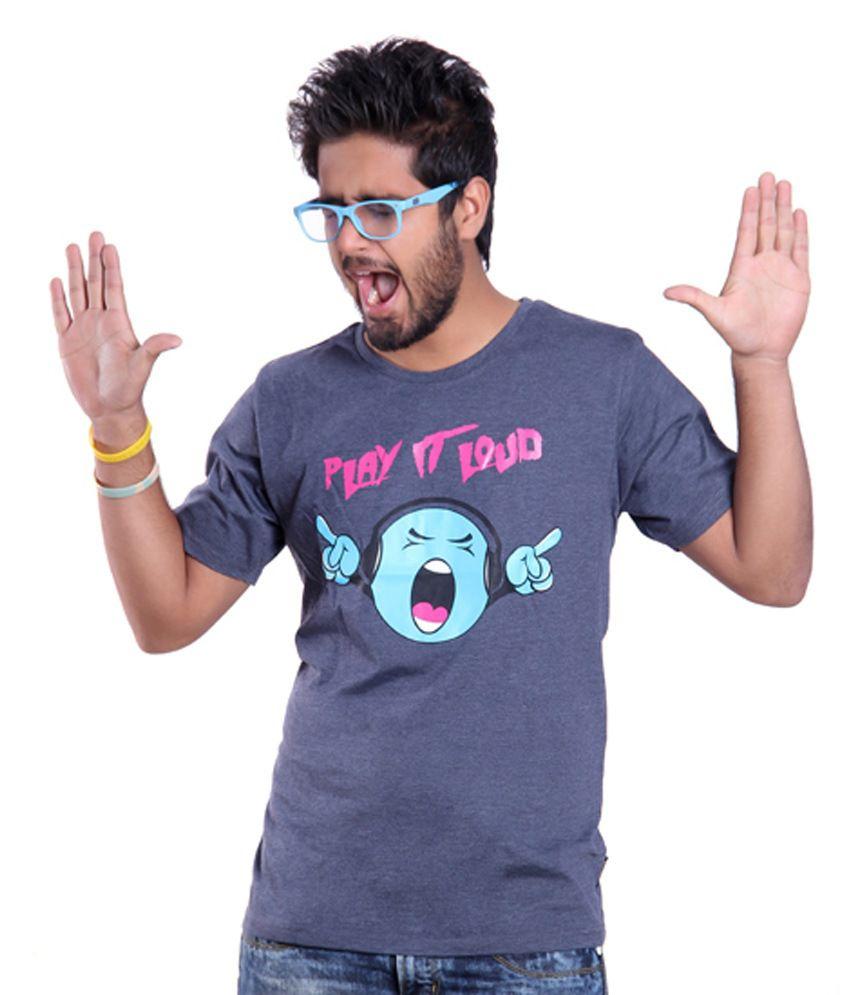 Ektarfaa Play It Loud Navy Mill Cotton Printed T Shirt