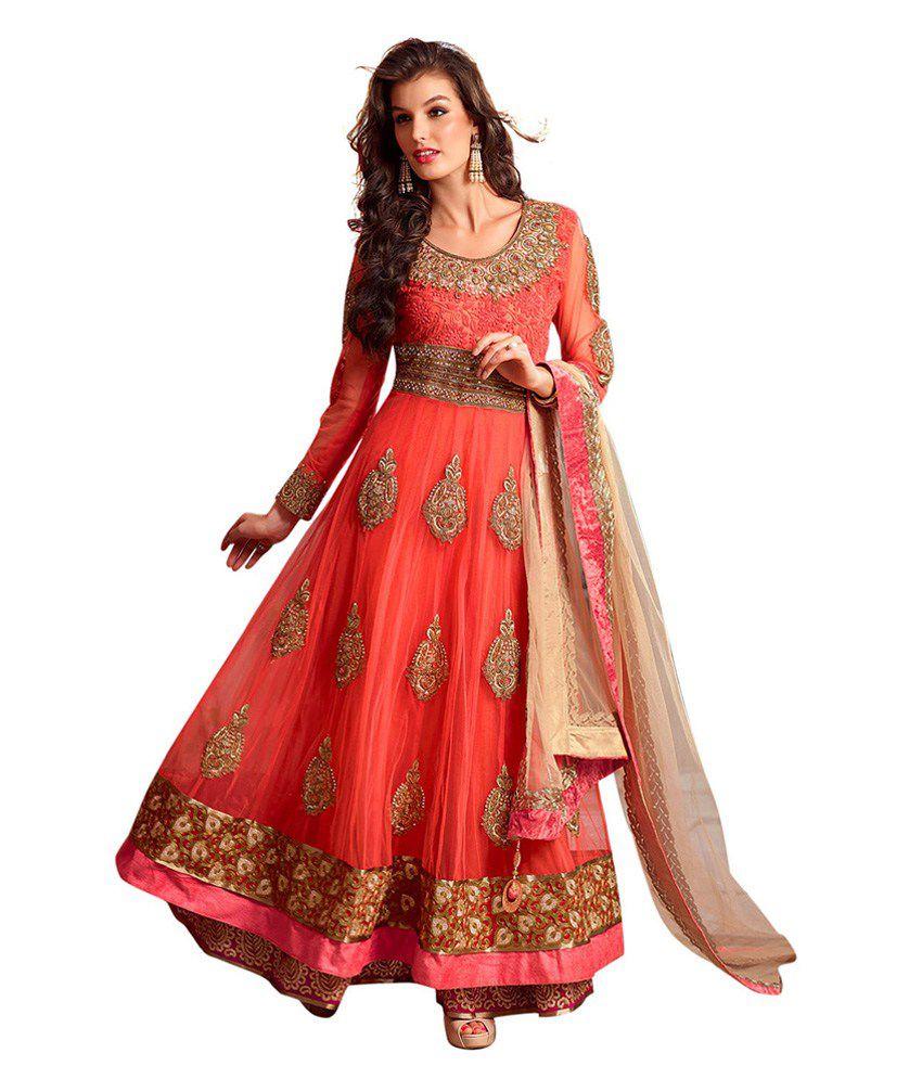 Red Ethnicbasket Red Embroidered Net Anarkali Salwar Suit