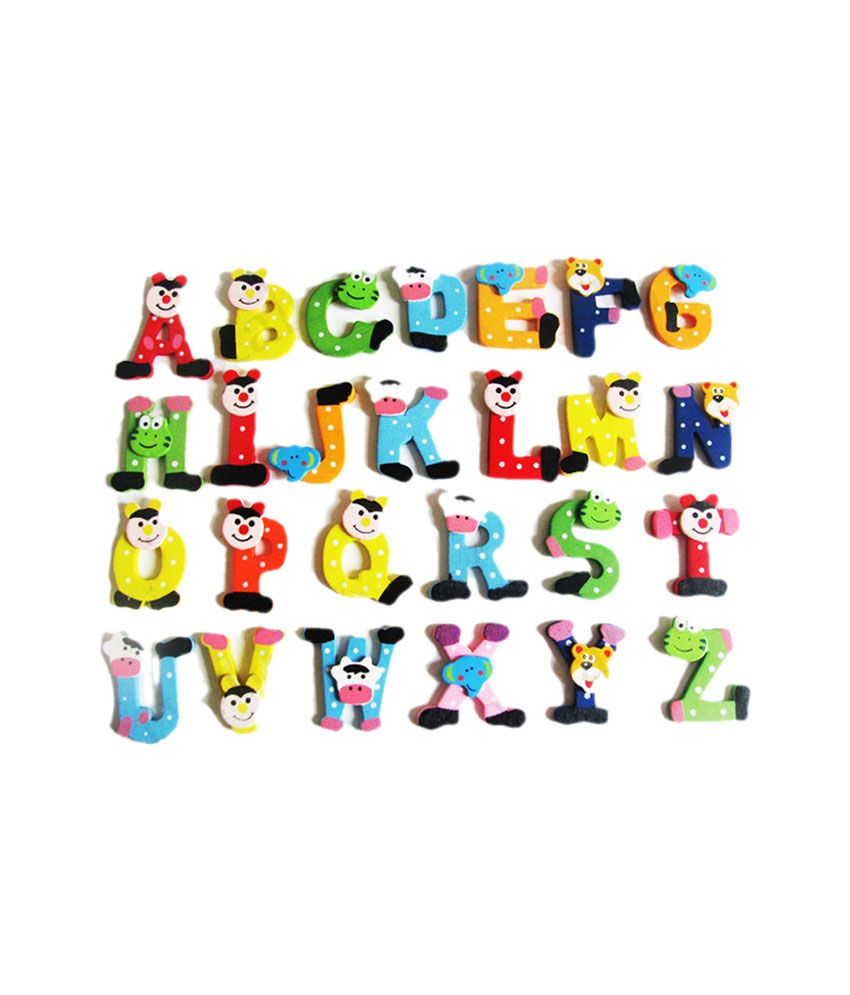 Kuhu Creations Multicolour Fridge Magnet Cartoon Wooden Stickers With 26 Big Alphabets