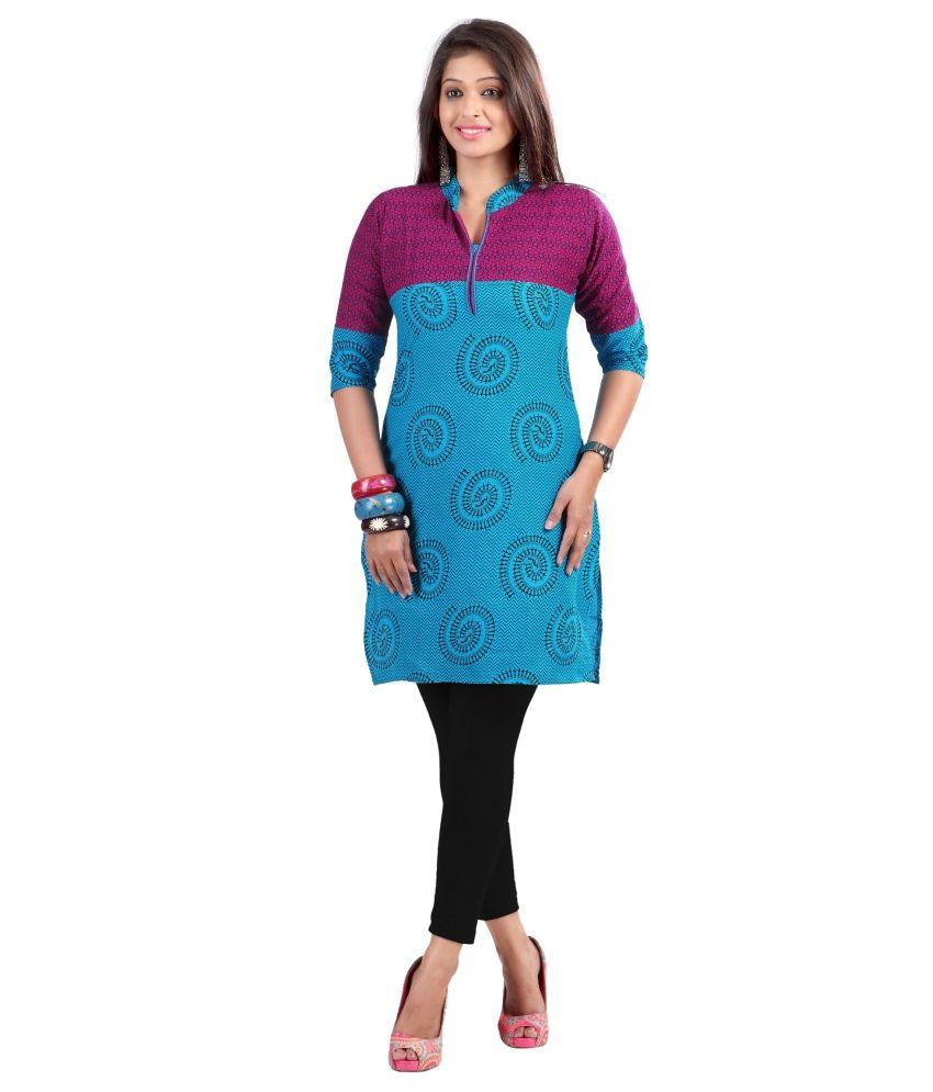 Triveni Delightful Blue Printed Blended Cotton Kurti