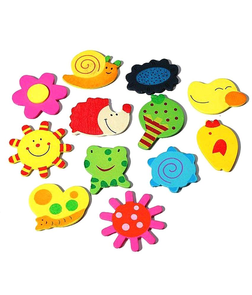 Kuhu Creation Yellow Wood Fridge Magnet 12 Pcs  set Of 2