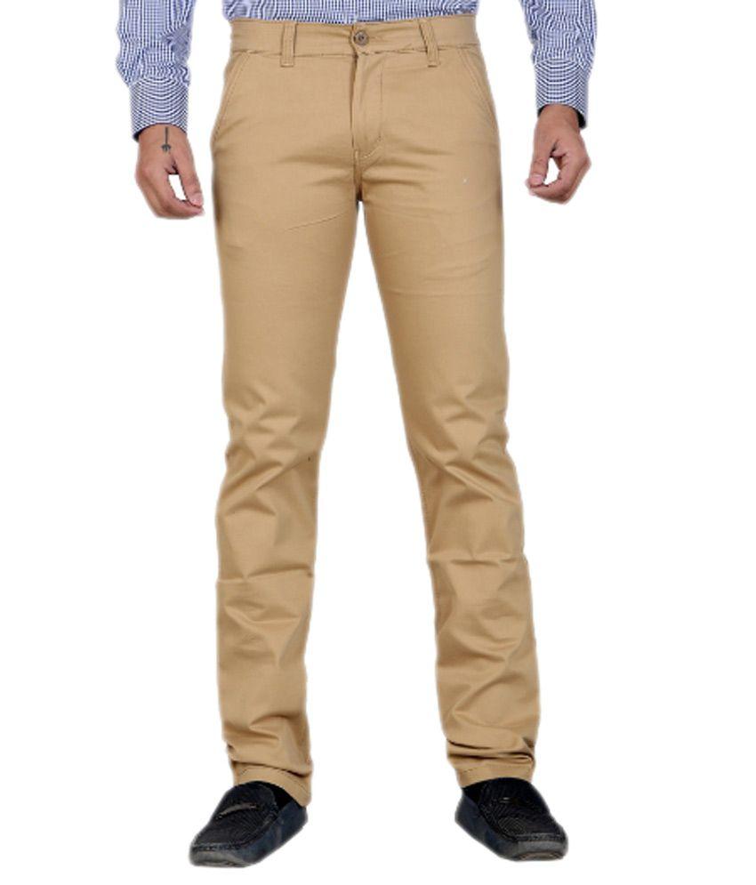 Shivam Synthetics Khaki Cotton Comfort Fit Flat Casual Trouser For Men