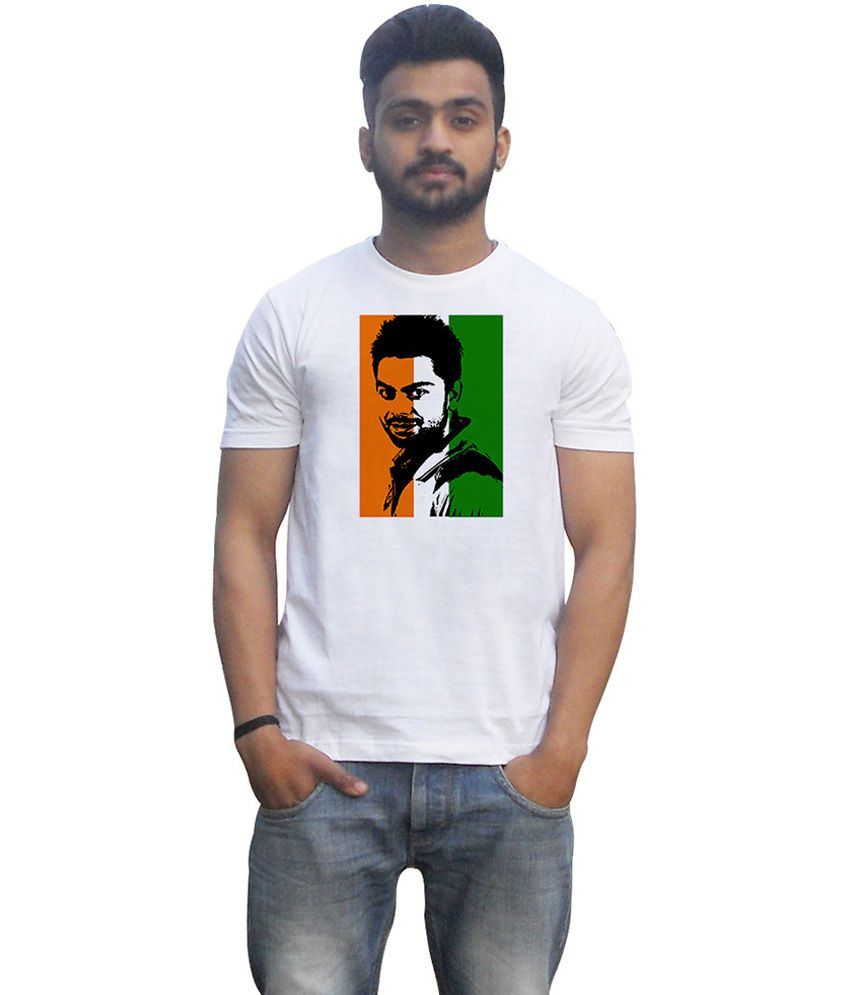 Lovely Collection White Cotton Round Neck Half Sleeves Printed Virat Kohli T Shirt