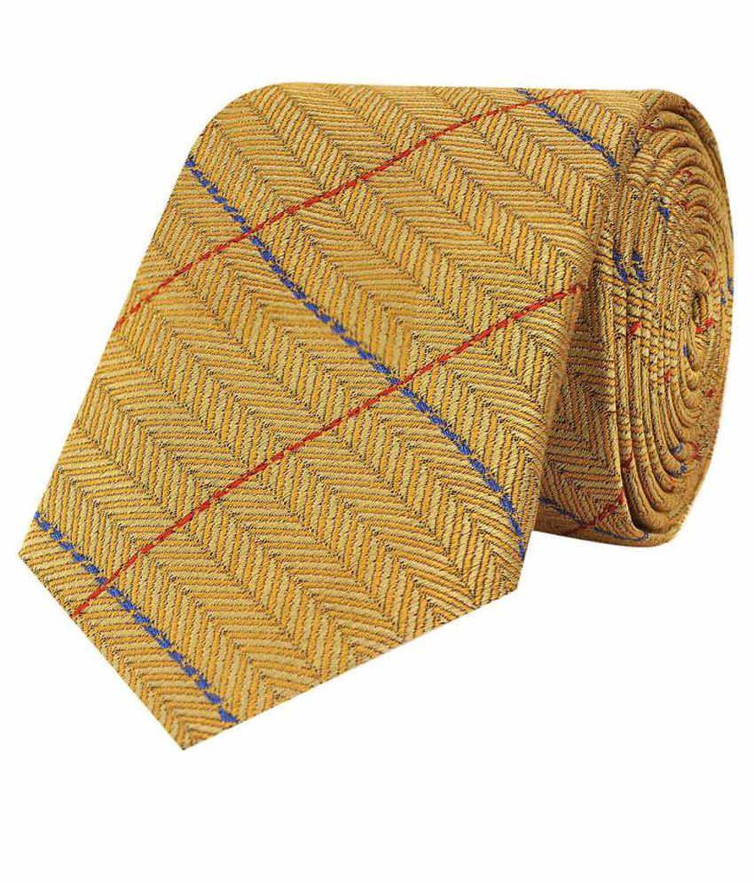 Tiekart Yellow Silk Men's Broad Necktie