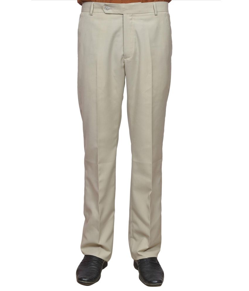 Adam In Style Beige Poly Viscose Formal Trouser For Men