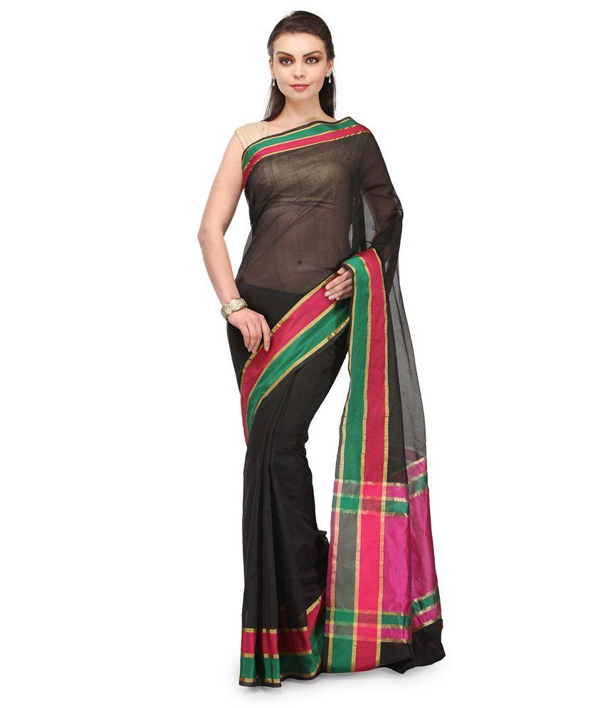 Bunkar Black Cotton Saree
