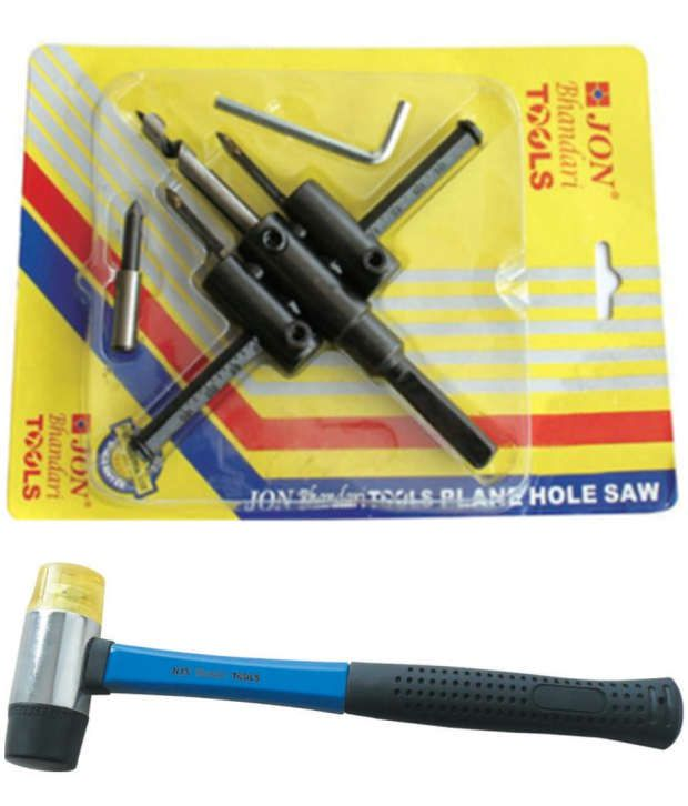 Jon Bhandari Adjustable Flat Hole Saw And Two Way Mallet Hammer 35 Mm