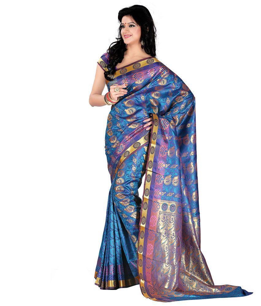 Roopkala Traditional Jacquard Blue Kanjivaram Art Silk