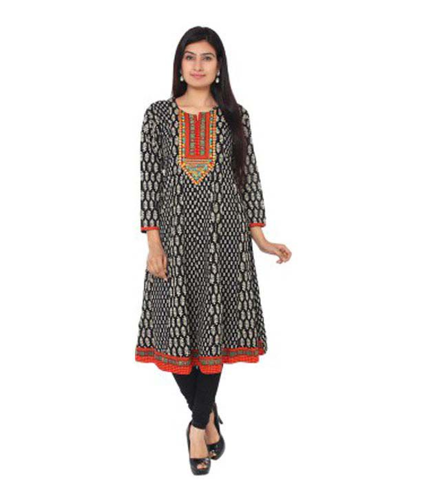 Belle Black And White Printed Anarkali Kurta With Beautifully Embroidered Neckline