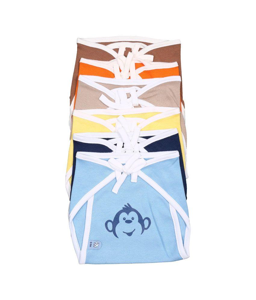 Bio Kid Colourful Eco Tie Nappies - Multi Color Combo - 6 Pcs Pack