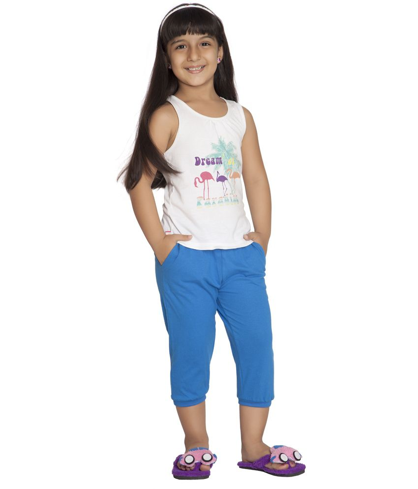 Clifton Blue Cotton Capris