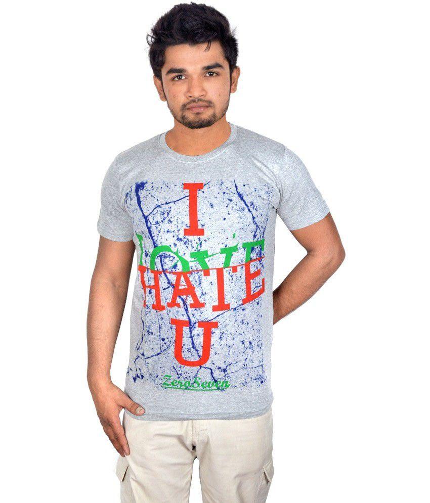 Drakeman Gray Cotton Round Neck Half Sleeve T-shirt For Men