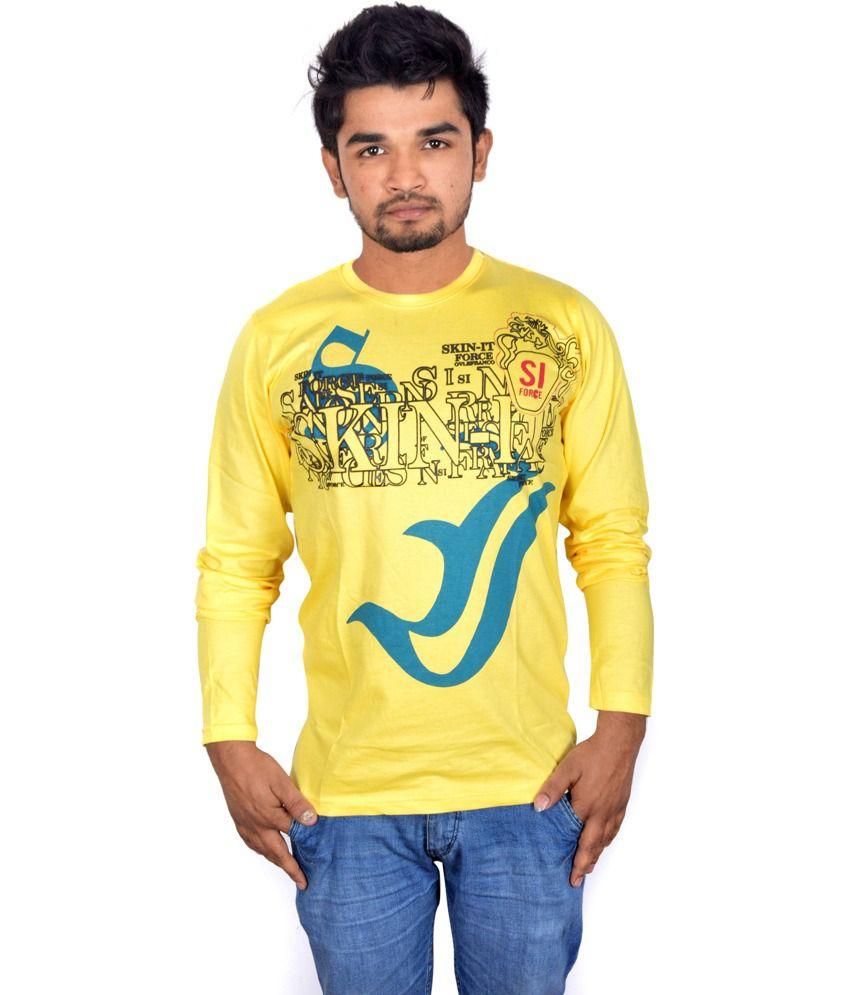 Drakeman Yellow Cotton V-neck Full Sleeve T-shirt For Men