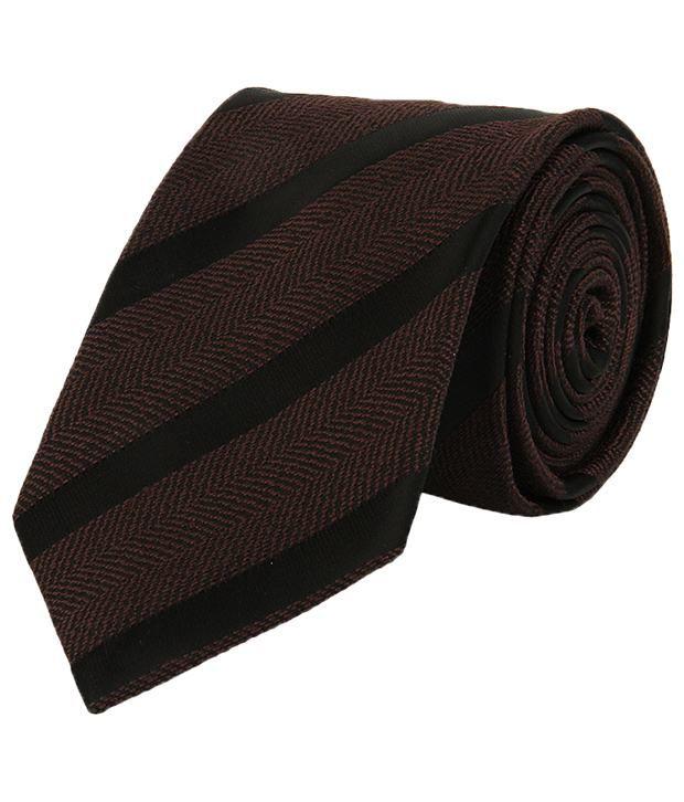 Lino Perros Brown & Black Stripes Regular Tie
