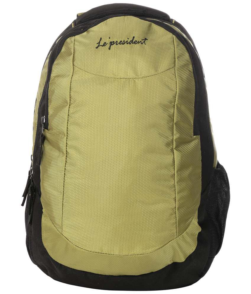 President Pride 35 liters Black and Green Laptop Backpack