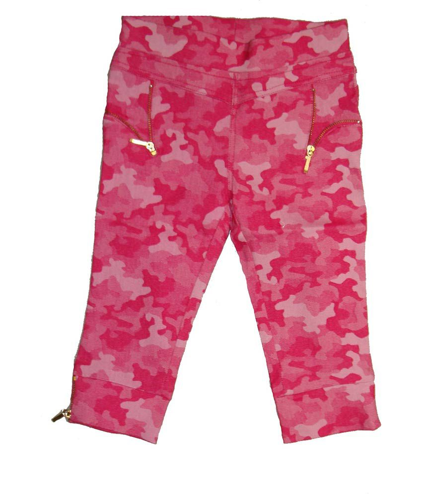 Bodingo Pink Synthetic Elastic Patch Work Capri