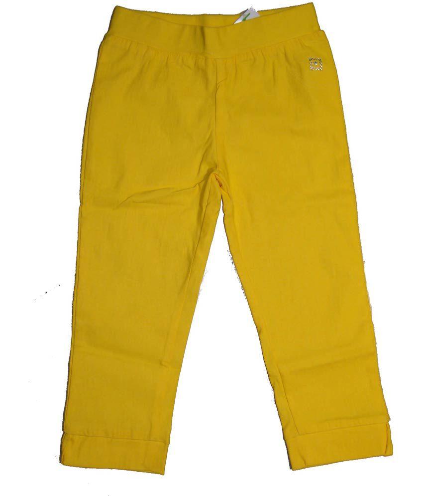 Bodingo Yellow Synthetic Elastic Patch Work Capri