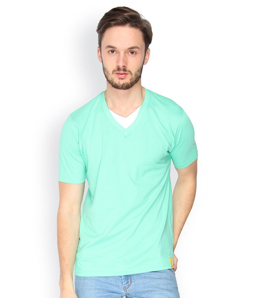Campus Sutra Green Double V Neck Tshirt