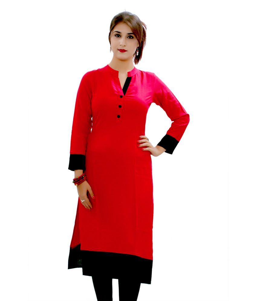 GMI Red Poly Rayon Chinese Collar Plain Kurti