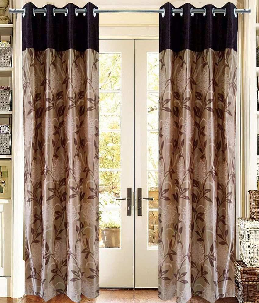 Homefab India Set of 2 Window Eyelet Curtains Floral Beige&Brown