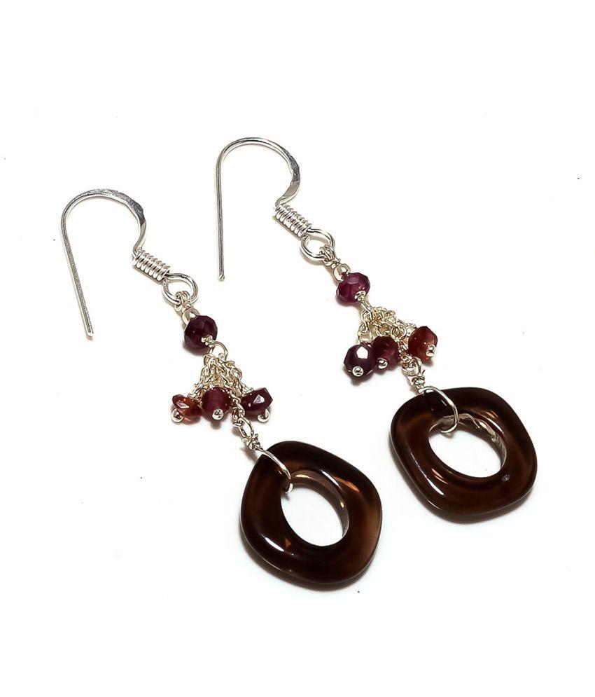 Kirti Gems Smoky Quartz & Garnet Hot New Dangle Earring