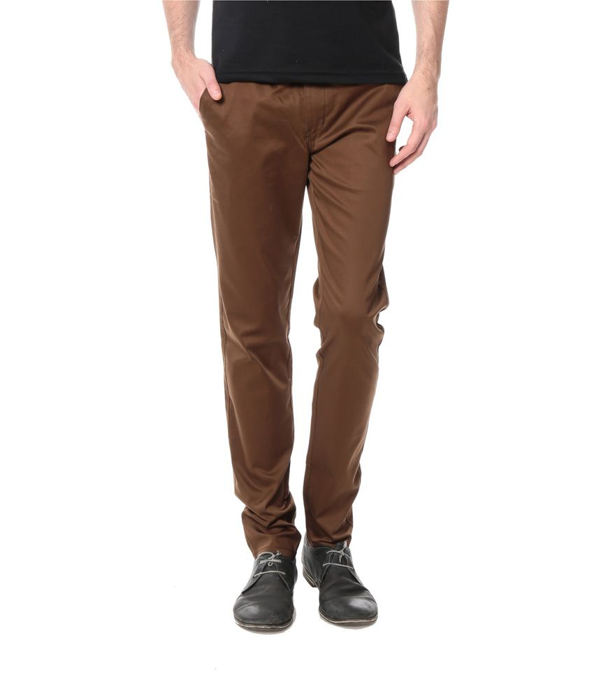 Leana Brown Cotton Smart Casual Chino