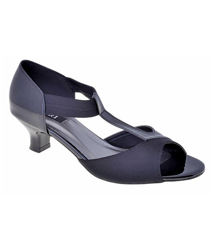 Ozuri Black Faux Leather Medium Heel Slip-on Shoe