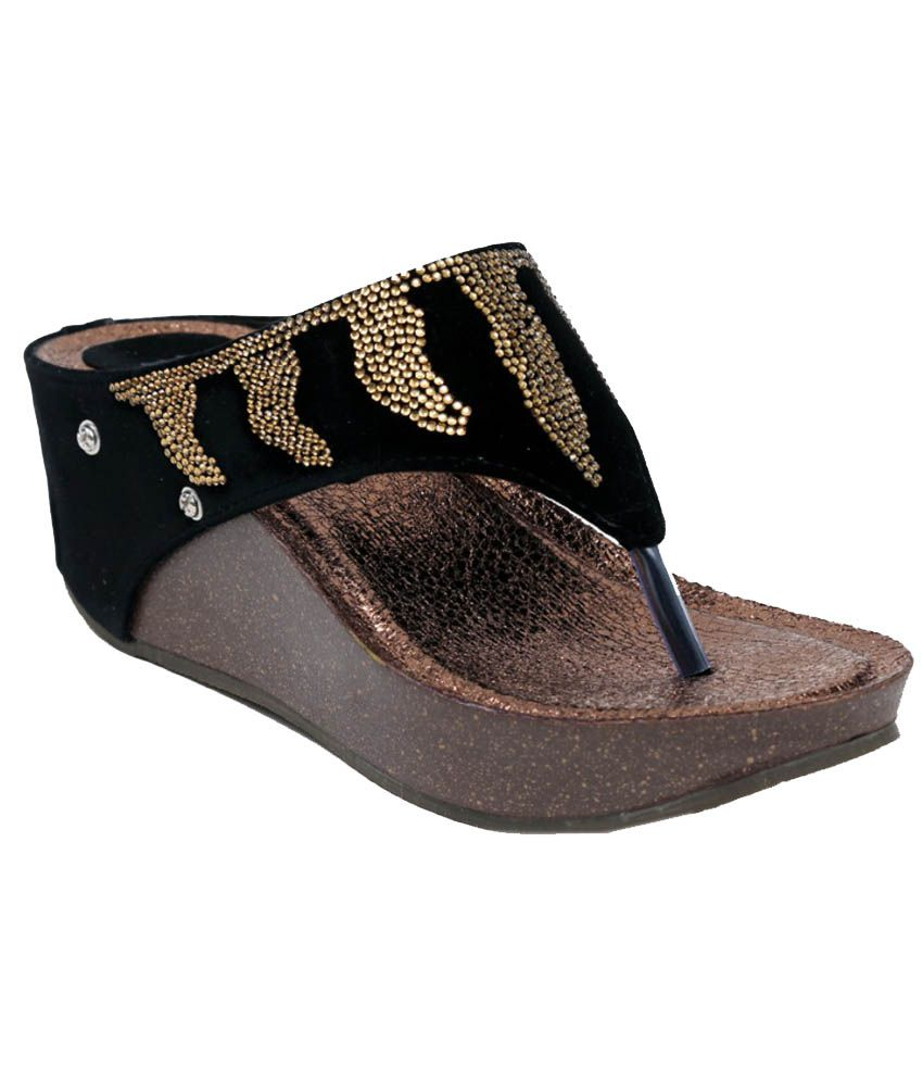 Pipo Black Sequence Heeled Slip On