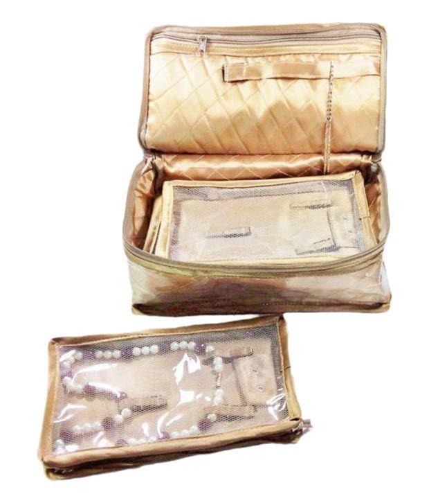 Addyz Jewellery Storage Satin Travel Box - 5 Premium Necklace Pouches