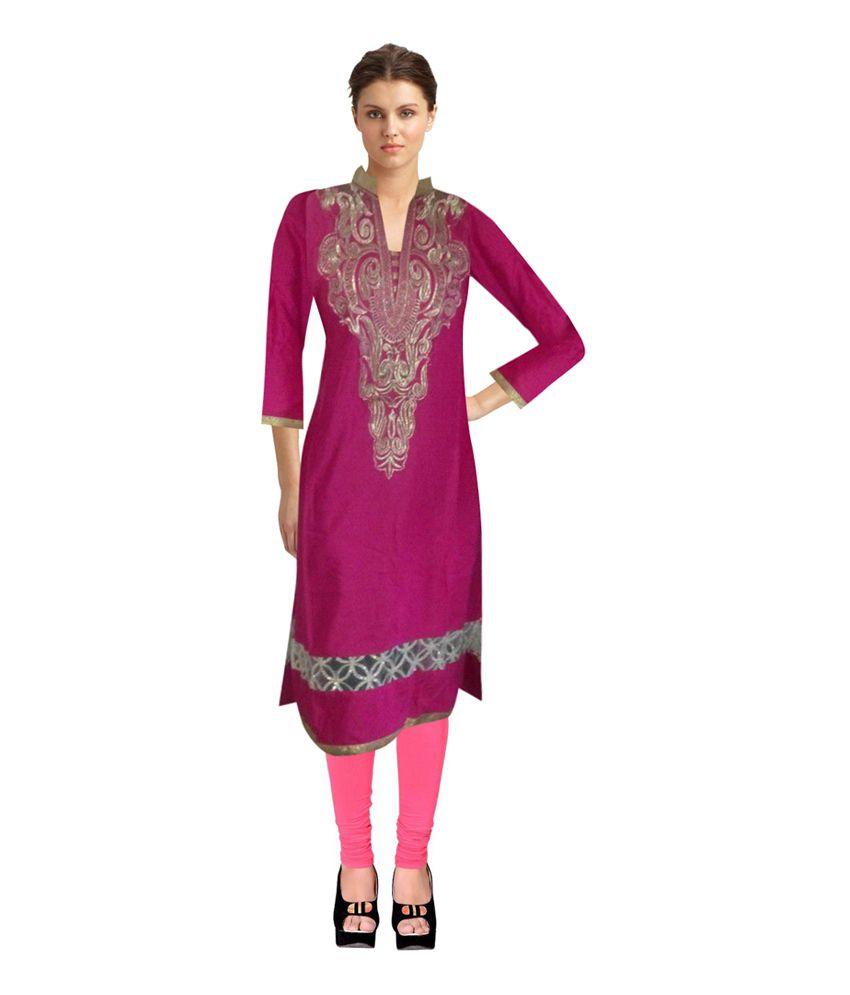 Mengi Trading Corporation Pink Cotton Embroidered V-neck Kurti
