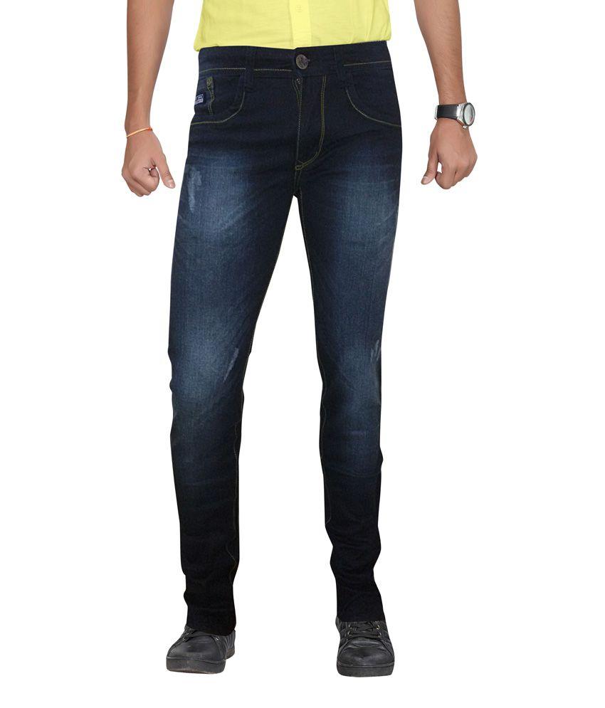 2b18 Blue Slim Fit Cotton Blend Jeans